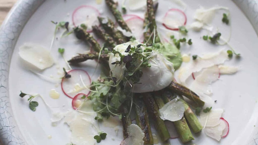 Poached Eggs with Asparagus, English Pea, and Mint