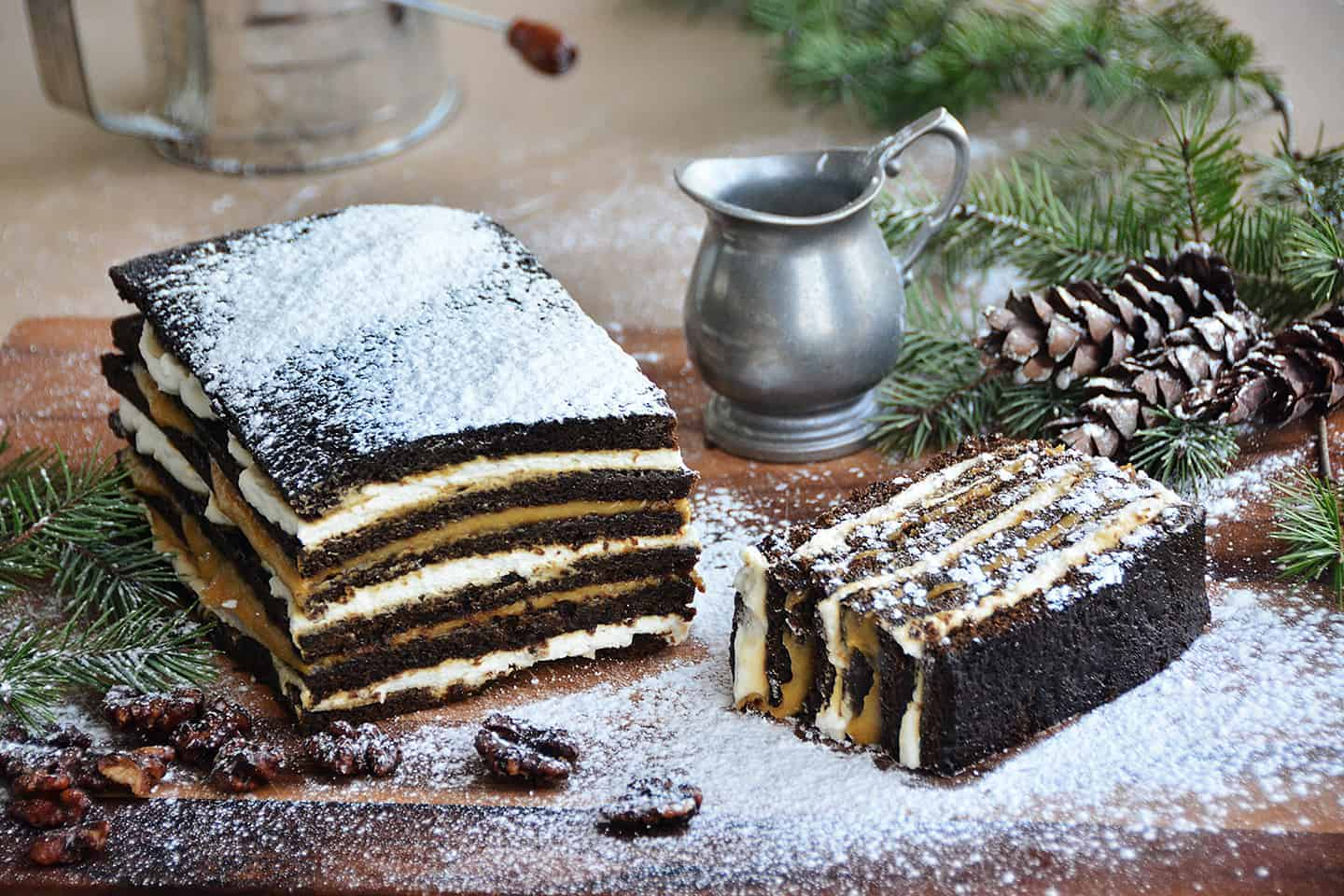Gingerbread Cake with Persimmon Curd and Creme Fraiche Whipped Cream
