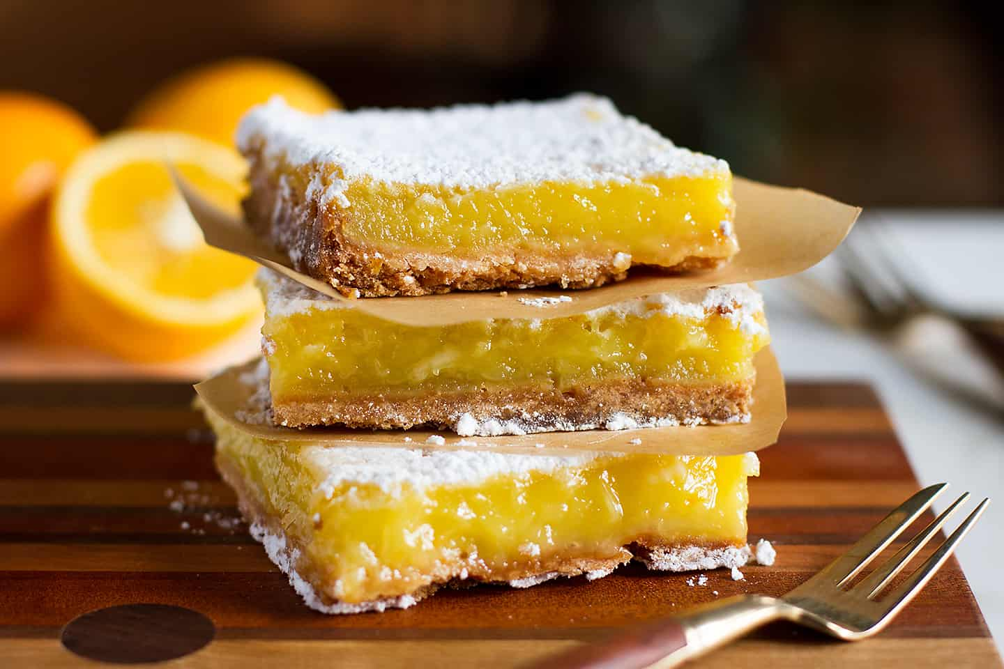 Meyer lemon bars on salty, browned shortbread curst