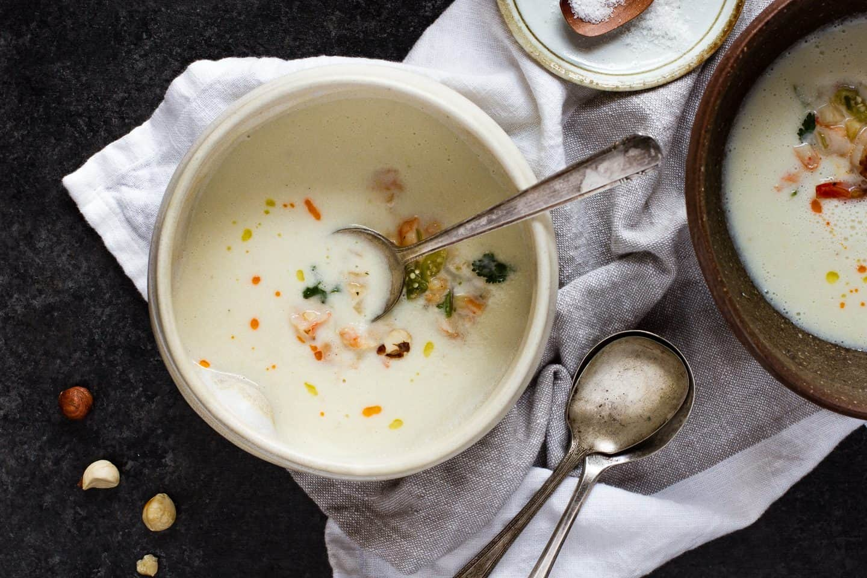 Summer Corn Soup with Shrimp Salad
