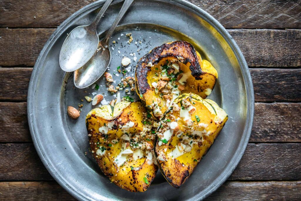 Roasted Acorn Squash with Almond Aioli & Picada
