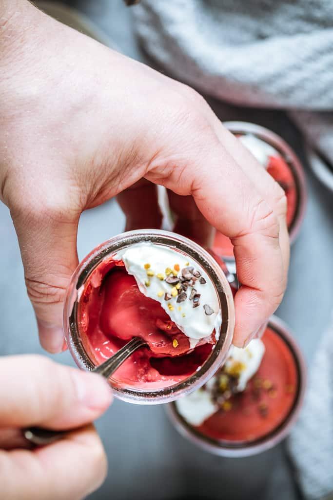Beet Pots de Crème with Crème Fraîche