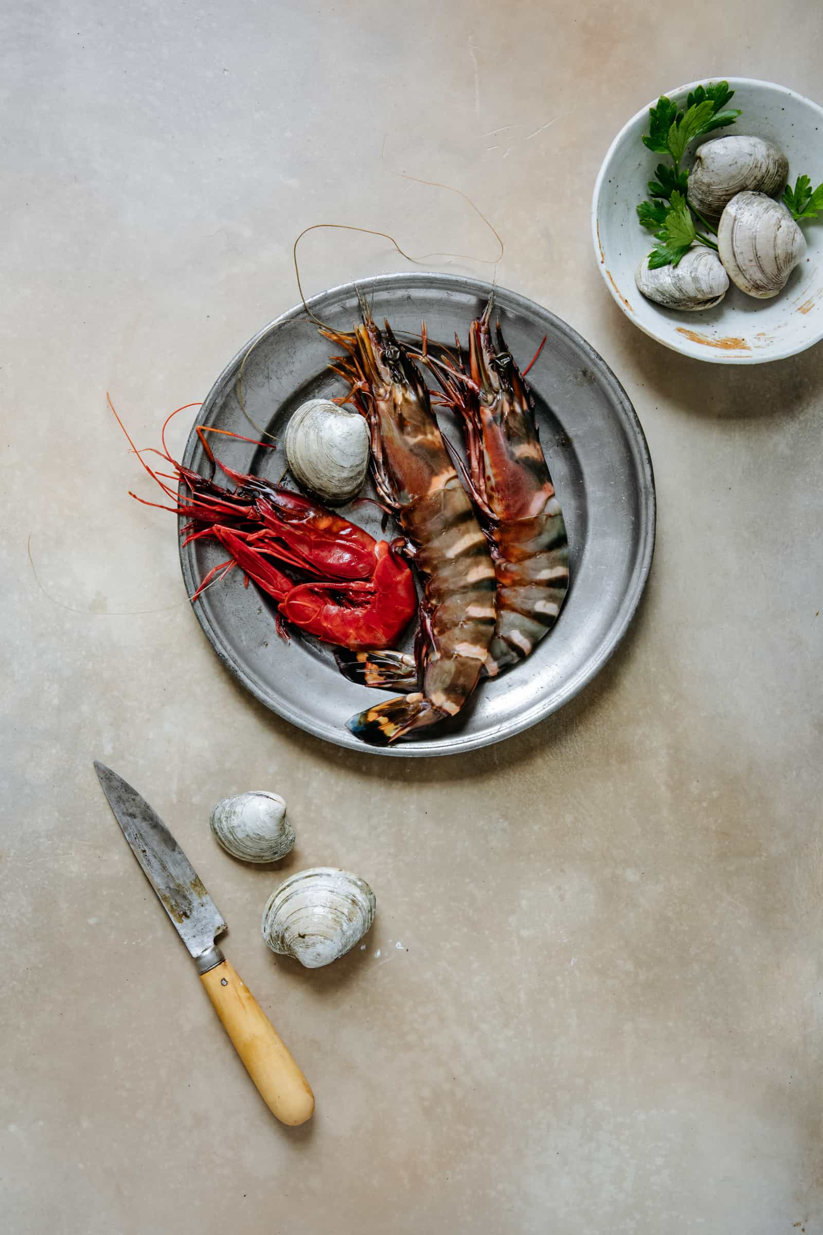 Cast Iron Roasted Colossal Prawns with Clams and Gremolata