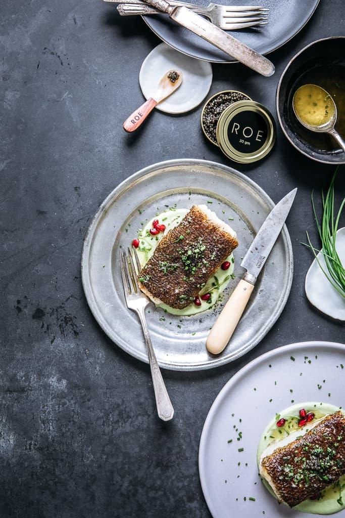 Pan-Roasted Sea Bass with Edamame, Chive, Pomegranate & ROE Caviar