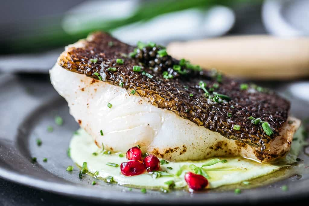 Pan-Roasted Sea Bass with Edamame, Chive, Pomegranate & ROE Caviar