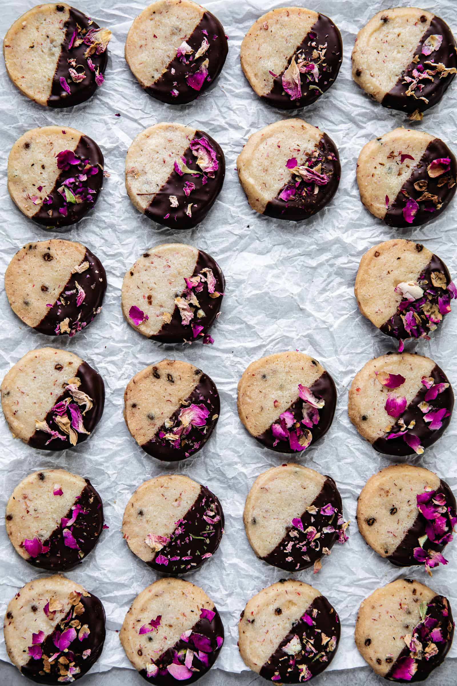 Pink Peppercorn Shortbread Cookies