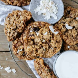 Chewy Coconut Cherry Oatmeal Cookies